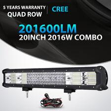 "20"" INCH 2016W QUAD ROW LED WORK LIGHT BAR SPOT FLOOD OFFROAD 4WD SUV ATV 22/23"