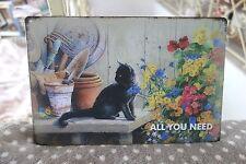 Shabby Blechschild Bild Katze All You Need Blümchen Retro Antiklook 20 x30cm NEU