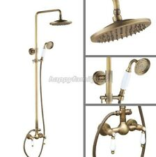 Antique Bronze Bathroom Rainfall Shower Faucet Set Dual Ceramic Handles yan118
