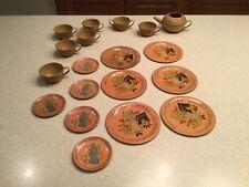 Vintage Ohio Art Tin Litho Tea Set Cinderella Antique 19 Pieces Used W/ Tea Pot