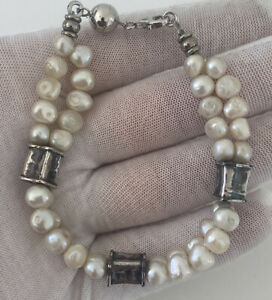 Silver Baroque Pearl Bracelet
