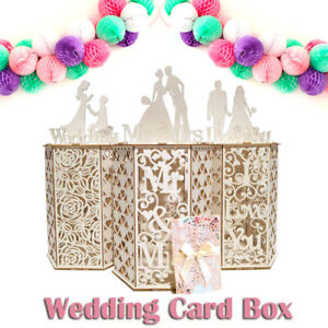 Receptions Wedding Card Box Collection Gift Birthday Wooden Hexagon Baby Shower