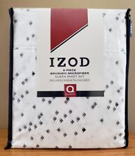 IZOD 6 Pc QUEEN Sheet Set Angelfish Brushed Microfiber 2 BONUS Pillowcases NIP