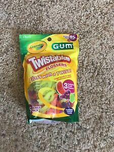 1x Crayola Twistables Flossers Twisted Fruit Flavors Fluoride Coated 85 count