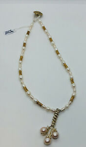 Artisan Cultured Pearls Necklace And Pendant Rose White Gold Toggle Loop Clasp