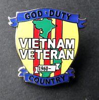 "BRAND NEW Lapel Pin God*Duty*Country VIETNAM VETERAN 1960 Enamel 1/"""