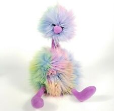 "Jellycat London Rainbow Pom Pom Bird 11"" Plush Fluffy Stuffed Animal Ostrich"