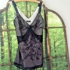 Vintage Silk Camisole by Coast Size 14 Black with Cream lining