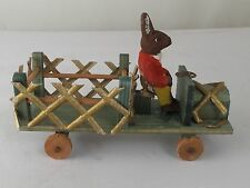 Antique German Composition Rabbit Driving a Stake Truck