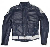 schmale Herren- Motorrad- Lederjacke / Biker- Jacke in blau- grau ca. Gr. 44