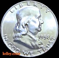 1958 50C Franklin Silver Half Dollar BU