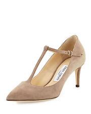 Jimmy Choo Daria Pointy Toe T Strap Pump Mocha Tan Suede 65 Mm HEELS Shoes 38