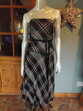 COAST Top & Skirt, Boned, Ivory Black, Check Plaid, Mesh Ribbon, Size 8 / 10
