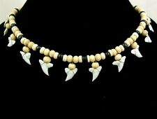 "Handmade 13! Mako Shark Tooth Wooden Beads necklace 20""-30"" adjustable : AA229"