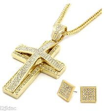 Pendant 36 Inch Necklace Franco Chain G10 Mens Large Two Cross Gold Iced Out