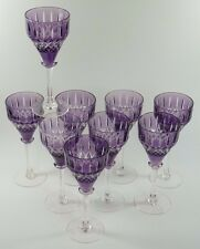 John WALSH WALSH Crystal - Purple Coloured Hock WINE Glasses - Set of 9