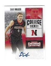 David Walker 2016-17 Panini Conts. Auto. Draft Pick College Ticket Cd,# 163