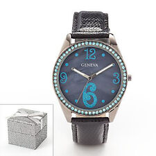 GENEVA Womens Ladies Black Simulated Crystal Mother Of Pearl Watch 21096KOL NIB
