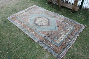 Vintage Handmade Turkish Blue Rug 6'x3'8""