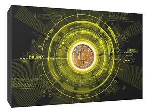 crypto bitcoin yellow canvas wall art Wood Framed Ready to Hang XXL print