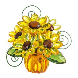 Ganz Crystal expression Sunflower Pumpkin posy pot Suncatcher Free Ship USA.
