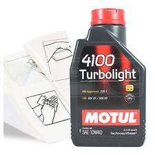 Engine Oil Top Up 1 LITRE Motul 4100 Turbolight 10W-40 1L +Gloves,Wipes,Funnel