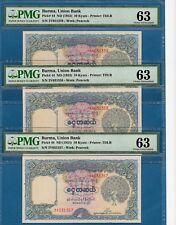 Burma, 10 Kyats, 3 Consecutive Serial Numbers, 1953, Unc-Pmg63, P44
