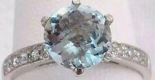 HUGE 1.60 CT ROUND CRYSTAL BLUE AQUAMARINE & DIAMOND 18K WG RING