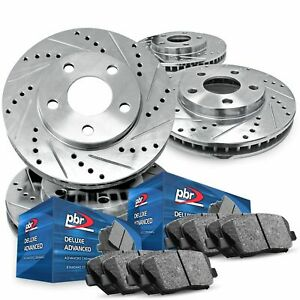 For 2015-2018 Ford Mustang PBR AXXIS Drill/Slot Brake Rotors+Ceramic Brake Pads