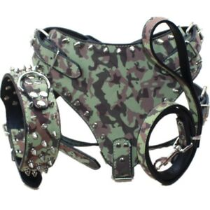 Large Breed Spiked Studded Leather Dog Collar Harness Leash set Pit Bull Terrier
