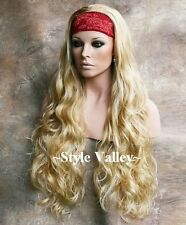 Heat Safe Blonde Mix 3/4 Fall Hairpiece Wavy Extra Long Half Wig cap Hair Piece