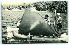 Postcard Girl Scout Camp Wind In The Pines Leicester MA Sail Boat R01