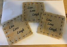 Burlap Patch With Live Love Laugh Design, Set Of 3