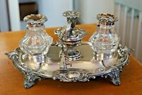 Gorgeous Antique Victorian Rococo Double Inkwell & Candle Set Silver Plate Stand