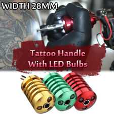 28mm Tattoo Machine Gun Grip Cover Handle Holder With 3 LED Light Bulbs Aluminum