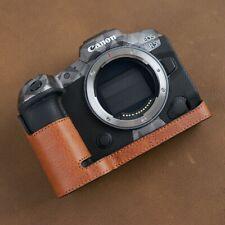 VR Handmade Genuine Leather Camera Half Case for Canon EOS R5 R6 Brown