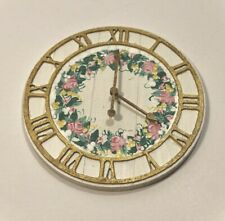 Dollhouse Miniature FARMHOUSE WALL CLOCK Wooden 1:12 Cottage Chic Hand-Painted
