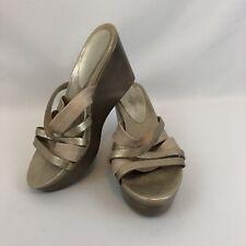 Donald J Pliner Platform Wedge Sandals 9.5 M Gold Leather Slides Shimmer Jean