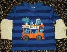 BABY BOYS Sz 0 blue white & orange TARGET long sleeve top COOL! CUTE! DINOSAURS!