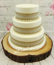 VINTAGE RUSTIC WEDDING CAKE  – HESSIAN & LACE RIBBON WITH PEARLS CAKE TOPPER SET