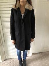 TopShop Black Coat With Detachable Fur Collar Size 10