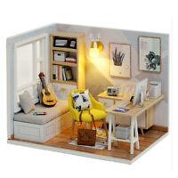 1:32 DIY Wooden LED Light Dollhouse Miniature Furniture Kit w/ Dust Cover