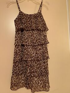 Girls dress Justice size 10 tiger print / 5 lyers good condition