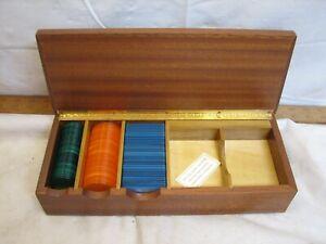 Vintage 1970s Italian Briarwood Poker Chip Card Game Box European Case