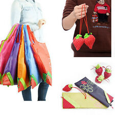 10pcs Strawberry Foldable Shopping Tote Reusable Eco Friendly Grocery Bag RT�'