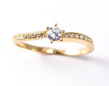 Round Yellow Gold Solitaire with Accents Fine Rings