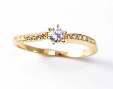 Diamond Solitaire with Accents Round Fine Gemstone Rings