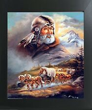 Western Covered Wagon Cowboy Living Room Wall Decor Art Print Framed Picture