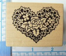"""PSX (Personal Stamp Exchange) """"Rose Doily Heart"""" Small Wood Mounted Rubber Stamp"""