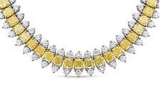 LARGE 49.10CT DIAMOND 18KT 2 TONE GOLD CUSHION & ROUND ETERNITY TENNIS NECKLACE